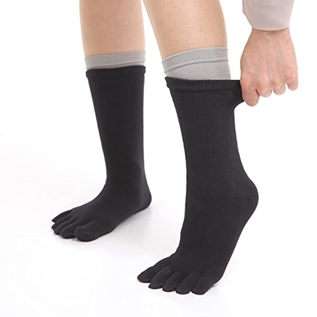 凝縮する不調和承知しましたNANA 初心者向け冷えとり靴下 内シルク外コットンソックス 2足セット 5本指ソックス フリーサイズ シルク (グレー)