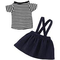 Dovewill 14.5インチ アメリカンガール人形対応 ファッション Tシャツ ショルダーストラップ スカート 衣類