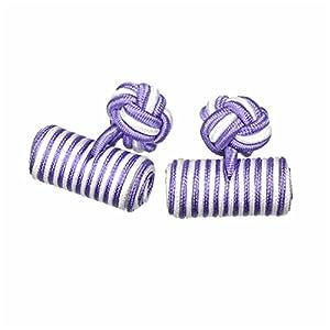 カフスボタン ゴムカフス シリンダー 薄紫&白 CF-GUMCYLINDER-S47