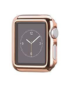 Apple Watch ケース アップルウォッチ カバー Hoco正規品 メッキ加工ケース弧状設計 脱着簡単 全4色 (42mm, ローズゴールド)