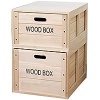 tyjy引き出しタイプソリッド木製ストレージボックス、スタッカブル、2 - Pack 50×39×23cm sw-263