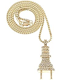 Gwood TheプラグIced Out Small Pendant with 24インチLongボックスリンクネックレス