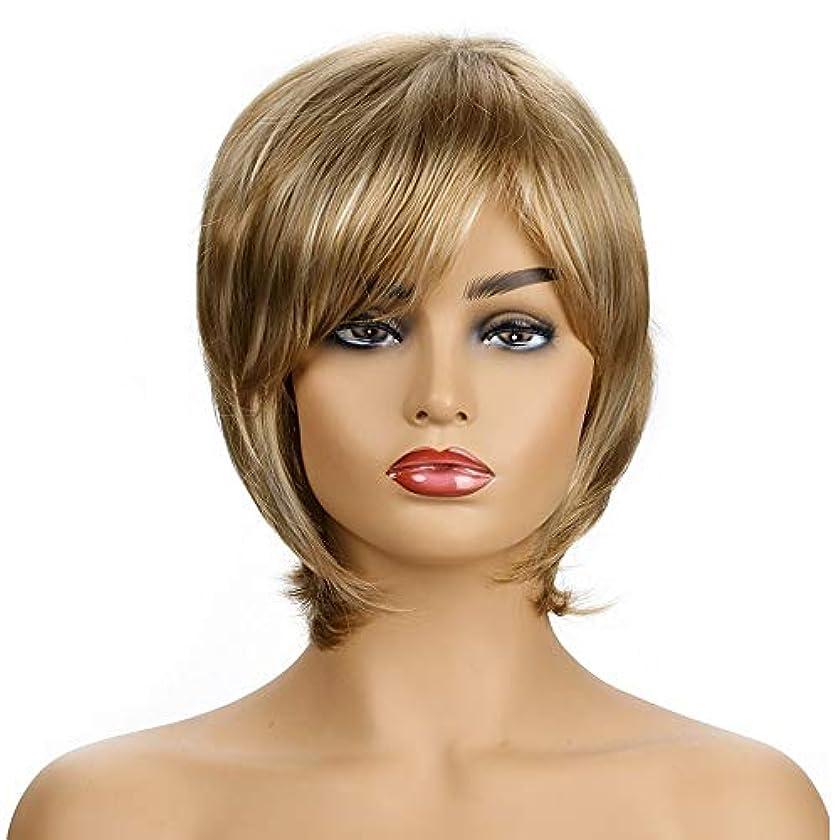 軽減ふける軽蔑する女性の短い金の巻き毛のかつら、女性の側部のかつら、黒人女性のための自然なかつら、合成衣装ハロウィンコスプレパーティーウィッグ(ウィッグキャップ付き)