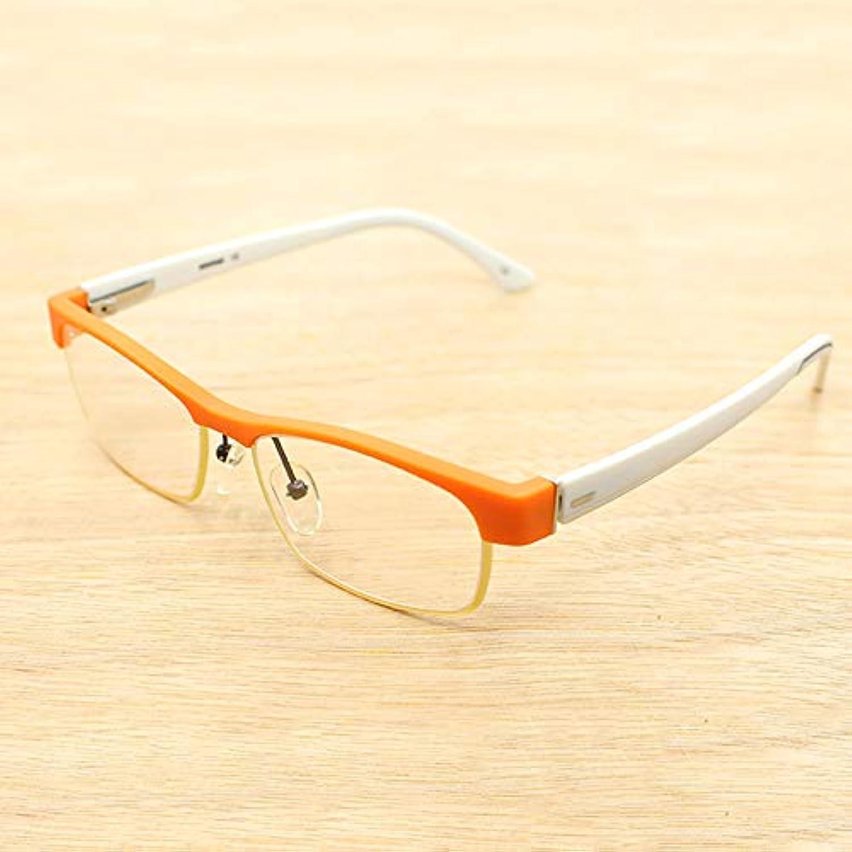 シェルター相対的心のこもったハーフフレーム老眼鏡、男性用および女性用老眼鏡、スタイリッシュなツートンカラーメガネ、アンチブルー抗疲労コンピュータ用メガネ、読書およびオフィス用、メガネケース付き
