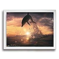 TAMATA イルカ 海 アートパネル アートフレーム 壁の絵 HD ポスター インテリア フレーム装飾画 壁掛け 壁飾り 絵 壁アート 風水 玄関 木枠付きの完成品 40x30cm