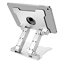 Tablet Stand Holder, Kabcon Multi-Angle Adjustable Aluminum Tablets Holder for Microsoft Surface Mount for Home, Office Countertop Silver