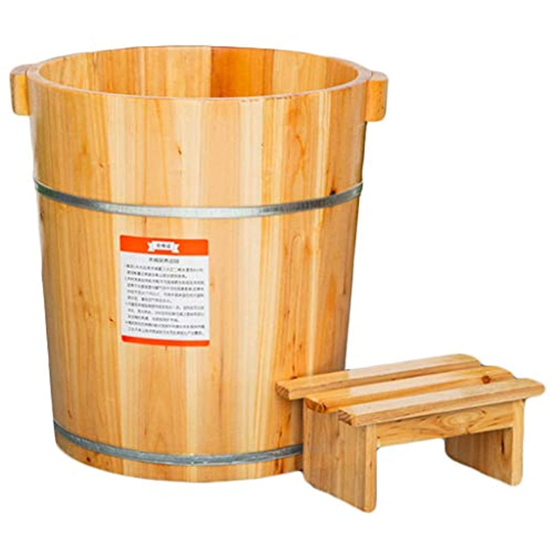 ペインギリック感じ落ち着かないフットウォッシュ木製フットバスマッサージフットバスのペディキュア樽ハイ深蓋スツール木製足浴槽の足流域の世帯