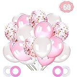 LAKIND ラテックスバルーン 60個 12インチ 紙吹雪バルーン ピンクとホワイト ヘリウムバルーン パーティー用品 結婚式 誕生日 女の子 ベビーシャワー パーティー装飾