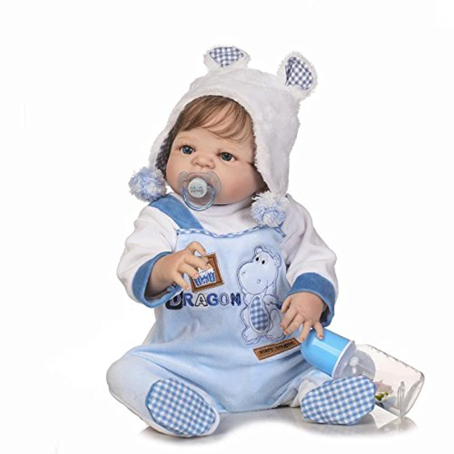 Realistic Lifelike Baby Boy Toddler Toy 23 Inch 57cm Soft Silicone Reborn Baby Doll Handmade Full Body Vinyl Newborn Dolls Anatomically Correct Xmas Gift