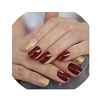 24人工爪ブラックスクエアミディアム偽ネイルアートのヒントUVジェルローズゴールドグリッター装飾シマーアクリルネイル、L5199