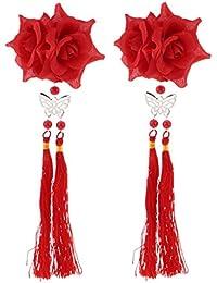 SONONIA 髪飾り 花 タッセル ヘアクリップ ヘアアクセサリー 1ペアセット 全8色