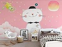 Mbwlkj 北欧カスタム写真ウォールペーパーロール3D猫テクスチャ壁紙キッズ寝室テレビの背景アート壁壁画-400cmx280cm
