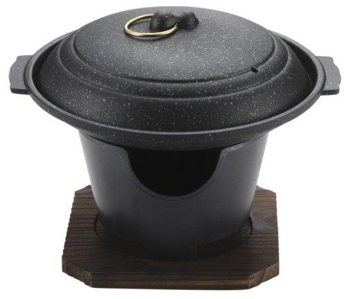 パール金属 陶板焼き 17cm 蓋 コンロ付 セット ストロングマーブル 懐石 H-5362