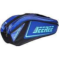 調整可能なショルダーストラップバドミントンラケットカバーバドミントンラケットバッグテニスバッグ(6ラケット)、青