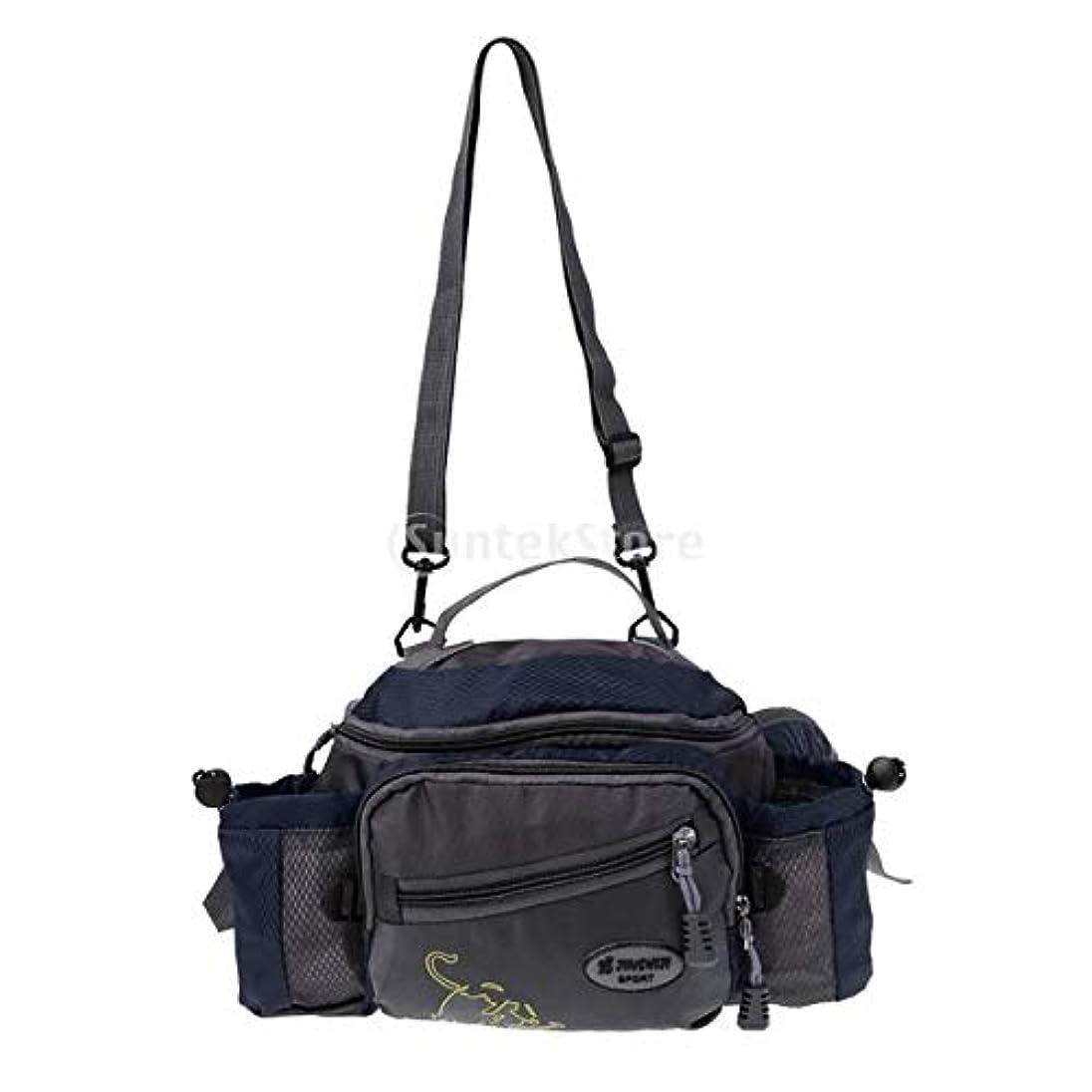 完全に乾くカテゴリーつぶすナイロン製 釣りタックルバッグ 多機能 ショルダー ウエスト フィッシング ギア 3色選べる - 青