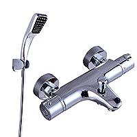 浴室用水栓 壁付サーモスタット混合栓 ニューウェーブシリーズ 節水シャワー(エアインシャワー) (めっき角型)