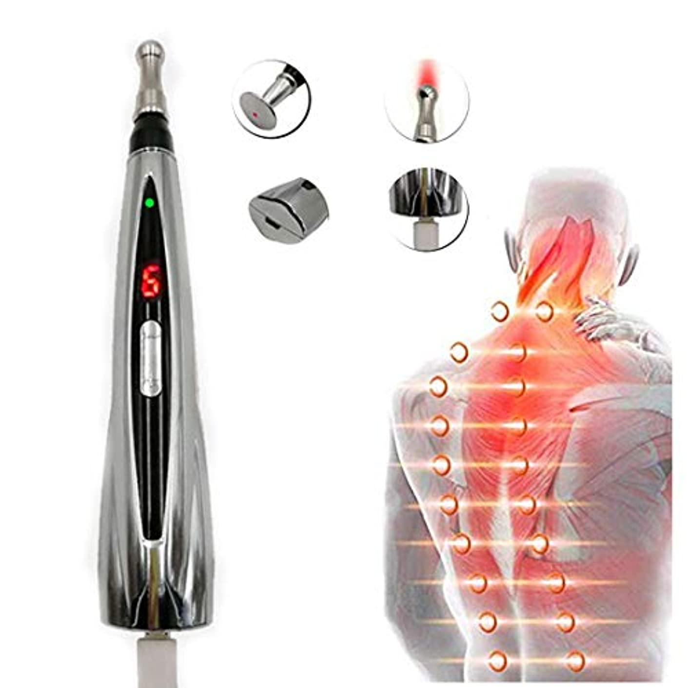本を読む新年ルール電子鍼ペン、USB充電メリディアンペンハンドヘルドマッサージペン3種類のペン痛みストレス緩和のための電子鍼17.5cm * 3cmシルバー