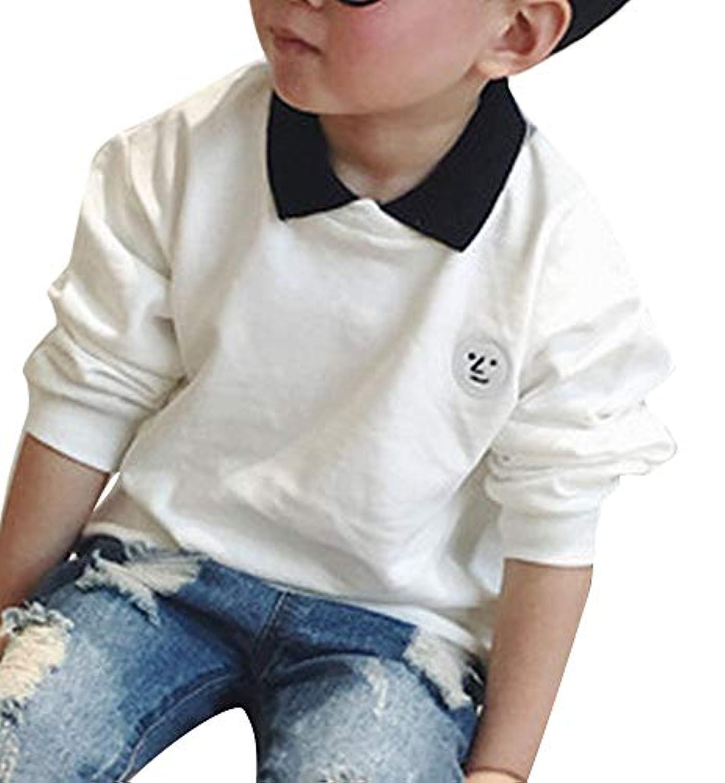 Plus Nao(プラスナオ) ポロシャツ 長袖 Tシャツ 子供用 カットソー トップス 襟付き ワンポイント ワッペン おしゃれ カジュアル 可愛い か