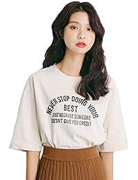 JHIJSC レディース Tシャツ 半袖 ゆったり トップス Tシャツ 五分丈 無地 シンプル 綿100% 夏 ファション 可愛い 通勤 通学
