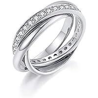 Italina Fashion Jewelry Three Band Interlocking Ring Polished Triple Roll Band Ring with CZ Band Rhodium/Gold/Rose Gold Plating
