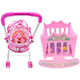 Baoblaze Baby Doll W/ Stroller Pram Buggy and Bed Cradle Girls Toy Foldable Pushchair Kids Toys