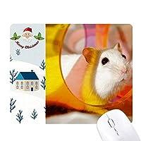 白ラット動物ペットゲームおもちゃ サンタクロース家屋ゴムのマウスパッド