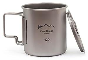 ゴートレンジ キャンプ用チタン製マグカップ 420ml (蓋付き)