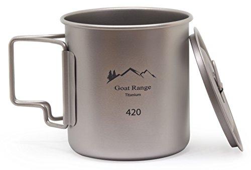ゴートレンジ キャンプ用チタン製マグカップ 420ml (蓋...