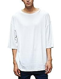[Make 2 Be] 薄手 メンズ 5分袖 Tシャツ カットソー クルーネック 無地 シンプル スリムシルエット 半袖 シャツ MF77