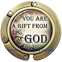 Christian Quotes バッグフック インスピレーションを与える財布フック 祈りの言葉ジュエリー フレーズ キリスト教 ガラス カボション 財布 フック-JP348 30mm