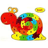 Viedoct 子供用木製パズル 26個のカラフルな木製アルファベット文字 アニメ動物ジグソーパズル おもちゃ カートゥーンブロック 幼児向け教育玩具 幼稚園児 幼稚園児 SVM033760