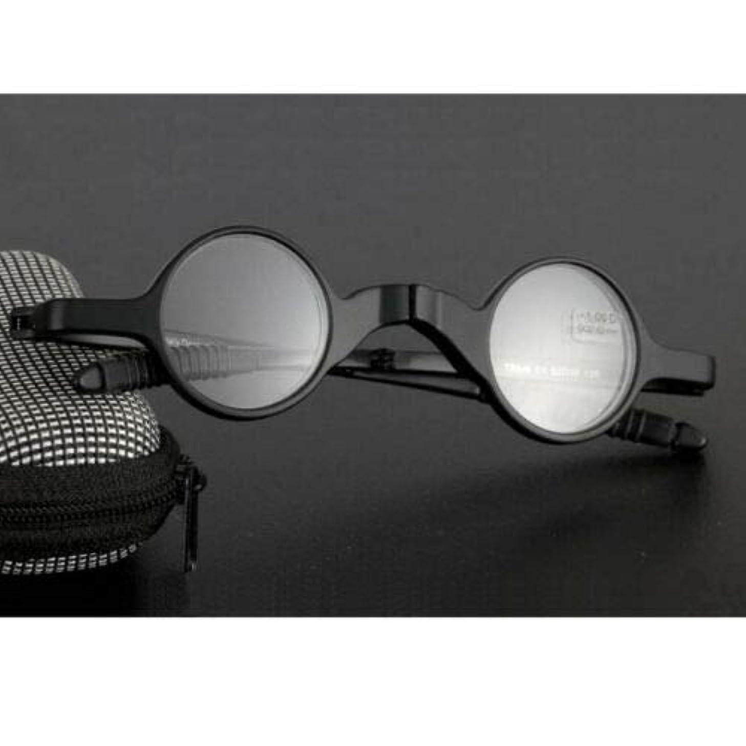 裁判官三会計士FidgetGear ミニ折りたたみ老眼鏡レトロラウンド眼鏡TR90メンズアイウェア+ 1.0?+ 3.5 ブラック