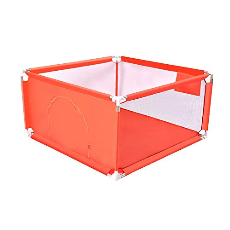 折りたたみ式遊び場4パネルドアの安全性を備えたベビープレイラードアンチコリジョン簡単取り付けフェンス100×100×68cm (色 : Red)