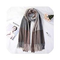 2019カシミア女性チェック柄スカーフ冬暖かいショールとラップバンダナパシュミナ長いタッセル女性スカーフ厚い毛布新しいファッション、コーヒーチェック柄