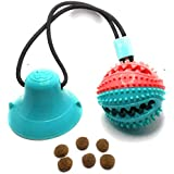 OiM8 AU Interactive Dog Suction Cup Toy I Dog chew Balls Rope Training Toy I Dog Suction Cup Treat Balls I Teeth Dog Cleaning Toy (Round)