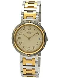[エルメス] HERMES クリッパー 33mm クリーム文字盤 SS GP コンビ メンズ ユニセックス クォーツ 腕時計