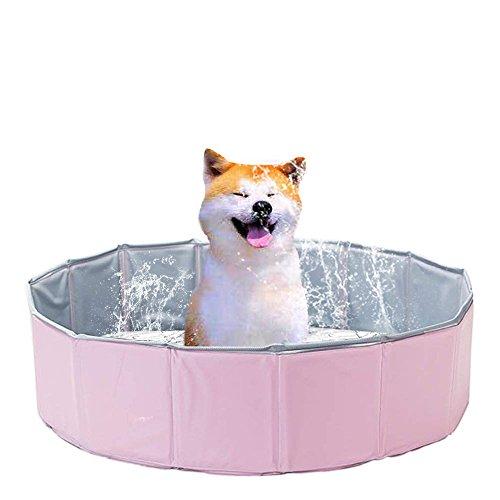 猫 犬 ベビー用 折りたたみプール ペット用バスタブ 空気不要 底に水抜き栓付き 大中小型犬に適用 屋内とアウトドア使用可(80x20㎝) 桜色とライトブルー(桜色)