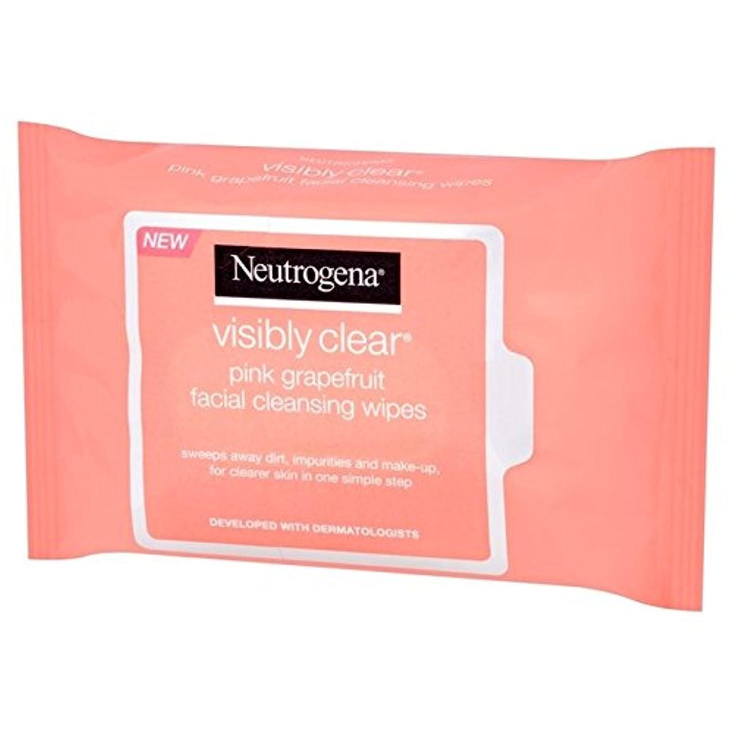 モートロッド台無しにNeutrogena Visibly Clear Pink Grapefruit Wipes 25 per pack (Pack of 6) - ニュートロジーナ目に見えて明らかピンクグレープフルーツは、パックごとに25...