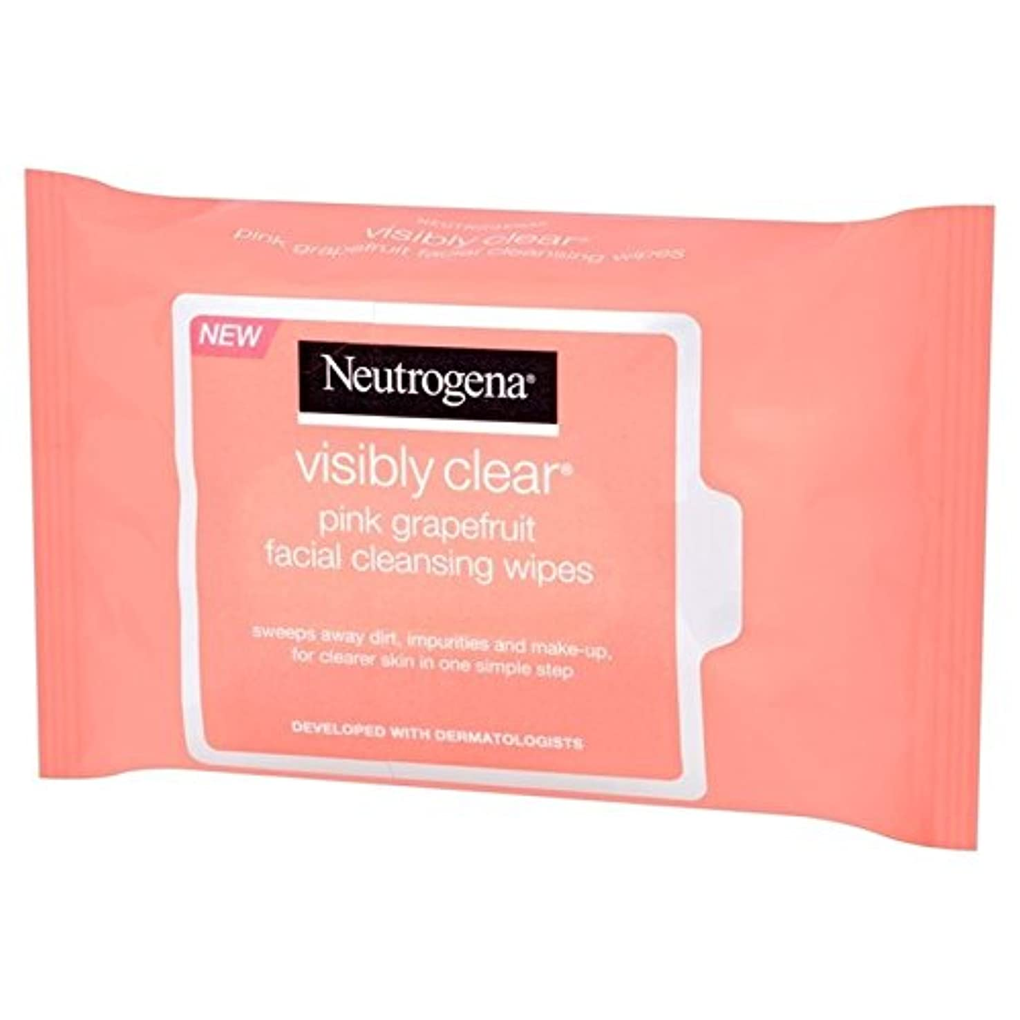 Neutrogena Visibly Clear Pink Grapefruit Wipes 25 per pack (Pack of 6) - ニュートロジーナ目に見えて明らかピンクグレープフルーツは、パックごとに25...