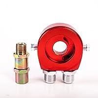 オイル ブロック サンドイッチ 3/4-16 UNF/M20x1.5 油温 油圧計 センサー AN10 汎用 センター ボルト レッド red 赤