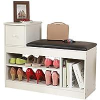 引き出し付き木製の靴の靴のベンチ、多層多機能の収納スツールPUクッション靴のラック (色 : B, サイズ さいず : 80 * 30 * 61.5CM)
