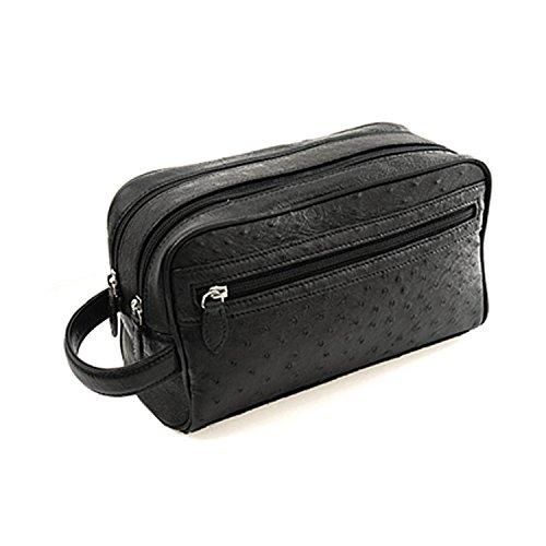 セカンドバッグ メンズ オーストリッチ Wファスナー 本革 レザー ブラック