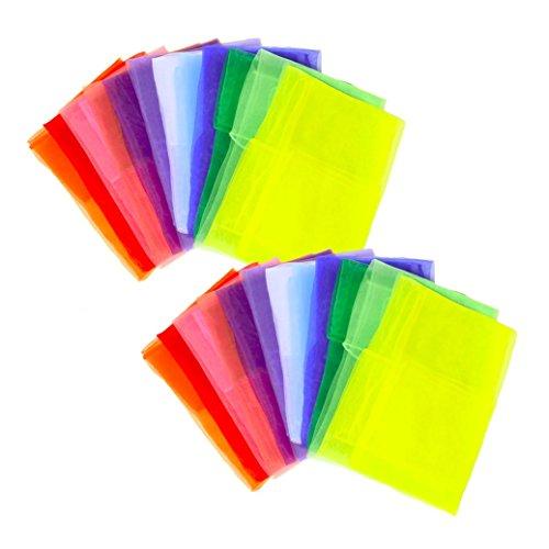 スカーフ シフォン 正方形 四角 リトミック スカーフ遊び ダンス 12色 24枚セット