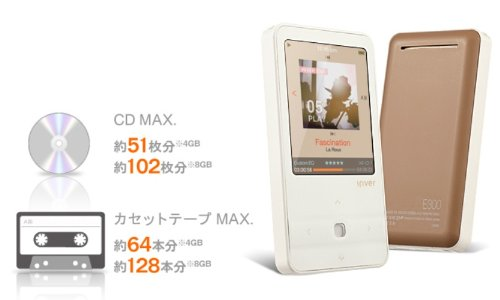 iriver アイリバー 1台7役ダイレクト録音対応プレーヤー E300 4GB ホワイト E300-4GB-WHT
