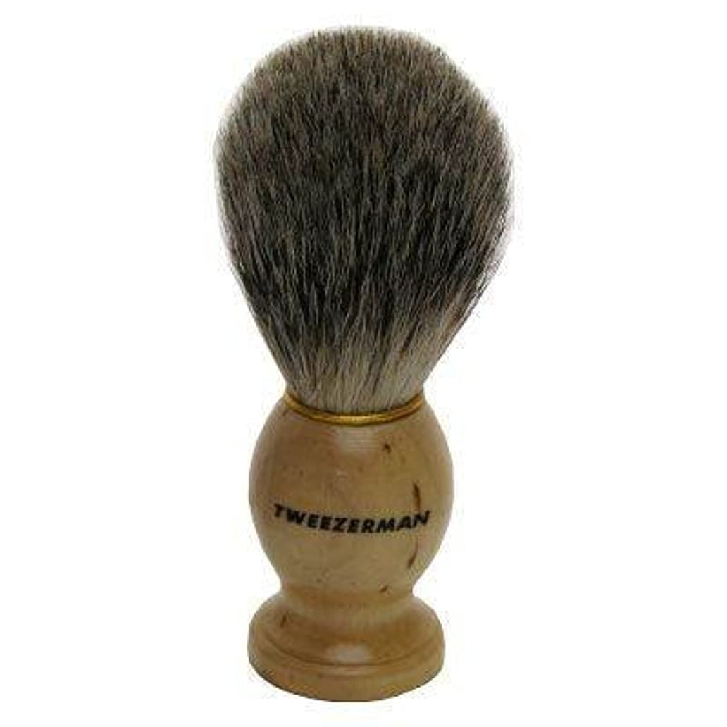 ティッシュ正確に基本的なTweezerman メンズ シェービングブラシ(100%アナグマの毛)