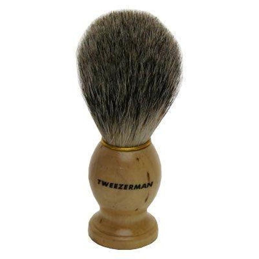 静的入るメンタリティTweezerman メンズ シェービングブラシ(100%アナグマの毛)
