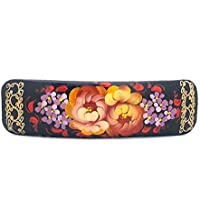 Russian Hair Clip Hand Painted Barrette black with flowers Zhostovo style by Handmade in Russia [並行輸入品]