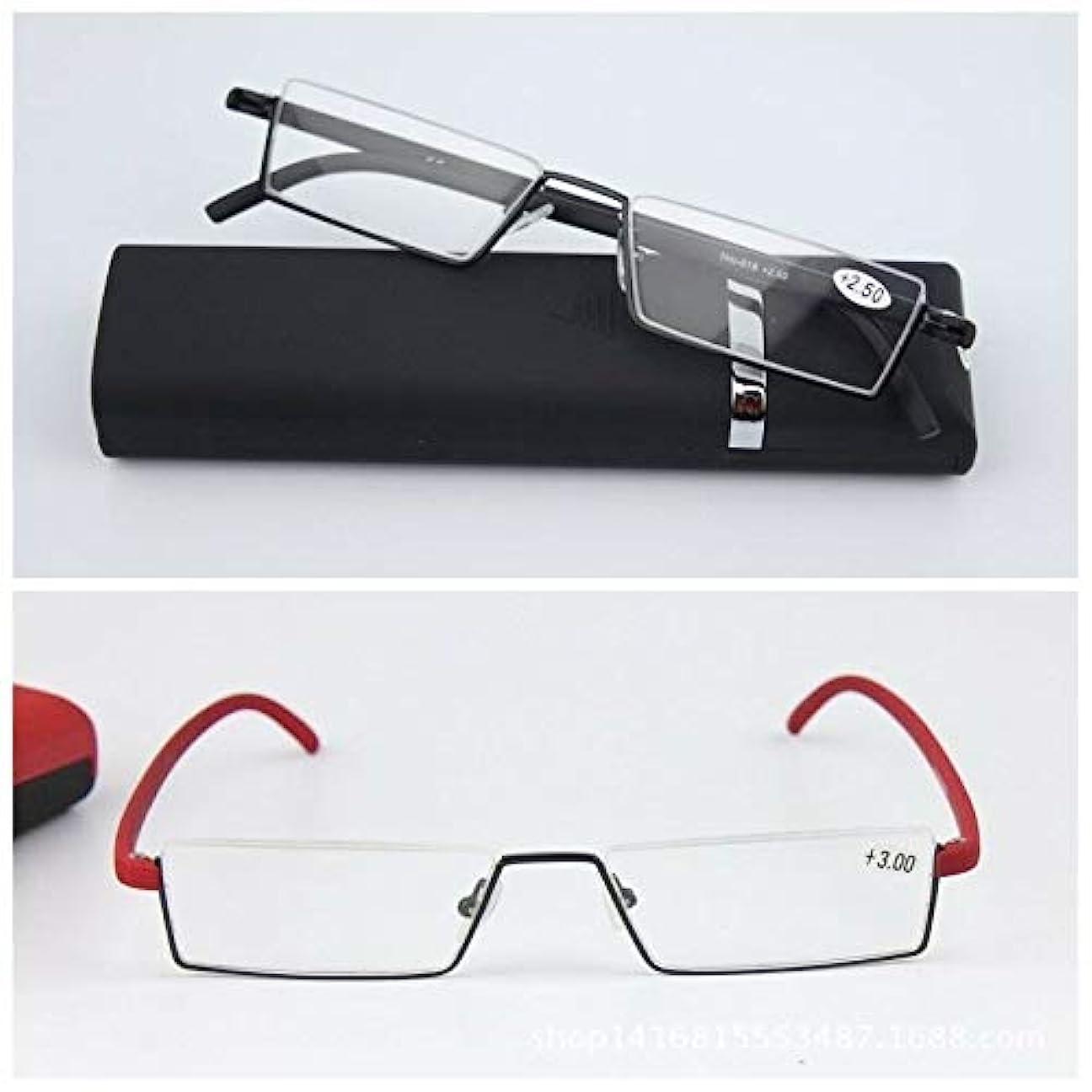 裏切り明らか代数FidgetGear ホット老眼鏡ハーフブラックレッドフレーム老眼の新しい女性の男性眼鏡 赤