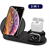 Wireless Charger Stand Station add QC3.0 Adapter Compatible with Apple Watch 4/3/2/1,Airpods,iPhone Xs/XS MAX/XR/X/8 Plus/8,10W Fast Wireless Charger for Samsung Galaxy Note and All QI Enabled Phones (Black)
