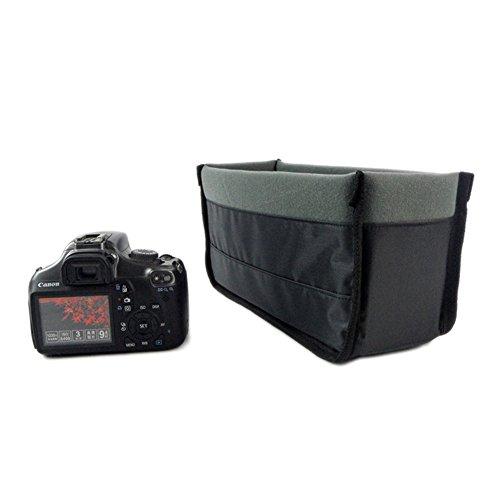 L-Peach 撮影用品 一眼レフ カメラ インナーバッグ ソフトクッションボックス インナークッションケース DSLR ポーチ 蓋なし ツートンカラー ブラック&グレー 32*11*15cm